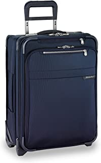 Baseline 21 inch Softside International Carry On Luggage with wheels 21 x 15 x 9. Expandable with Compression Packing System, Navy