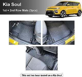 YelloPro Custom fit Heavy Duty Front & 2nd Row (3pcs) Floor Mat for Kia Soul - 2020 2021 - All Weather Anti-Slip Black Rub...
