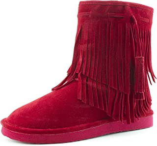 Kali Women's 2 Layer Fringe Fur Lining Faux Suede Ankle Booties (Adults)