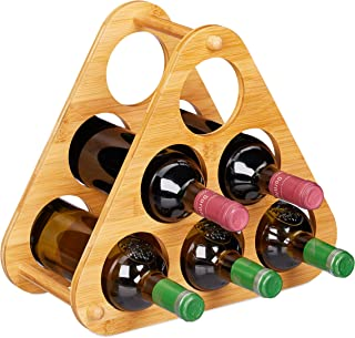Relaxdays 10028816 Etagère 6 Bouteilles, Pyramide pour vin, Bambou, Support décoratif HLP 31x34,5x19 cm, Naturel