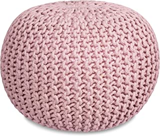 BIRDROCK HOME Round Pouf Foot Stool Ottoman - Knit Bean Bag Floor Chair - Cotton Braided Cord - Great for The Living Room, Bedroom and Kids Room - Small Furniture (Dusty Rose)
