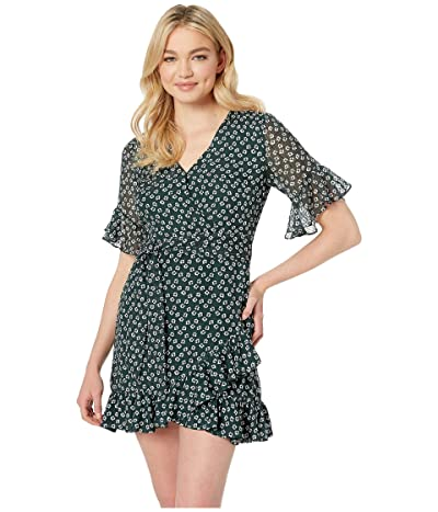 1.STATE Short Sleeve Flounce Flower Etching Wrap Dress (Cypress Pine) Women