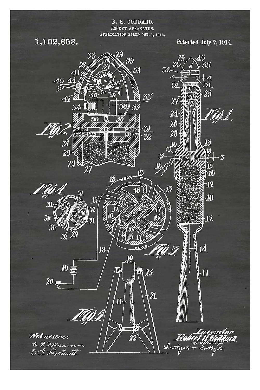 Robert High quality new Goddard Designed Save money Rocket Ship Multiple Poster: Color Size