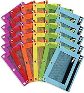 Blue Summit Supplies Pencil Pouches, Bulk Pencil Pouch 30 Pack in Assorted Colors for Storing School Supplies, Writing Utensils, and More, Cloth Zipper Pouches for 3 Ring Binders, 30 Count