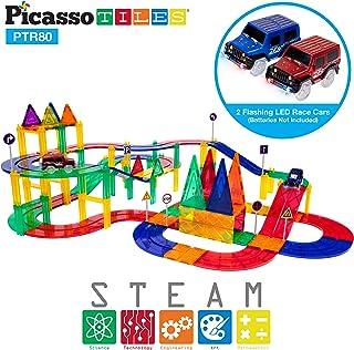 PicassoTiles 80 Piece Race Car Track Building Block Educational Toy Set Magnetic Tiles Magnet DIY Playset 2 Light Up Car S...