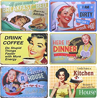 Juvale Funny Vintage Retro Metal Tin Signs (6 Pack), 12 x 8 Inches