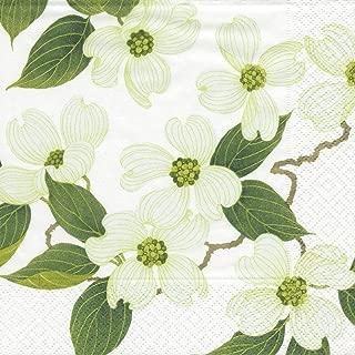 Entertaining with Caspari White Blossom Paper Dinner Napkins, Pack of 20