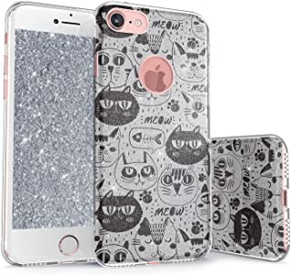 iPhone 8 Glitter Case, True Color Sparkase Sparkly Glittering Cats Kittens Print Three-Layer Hybrid Girly Case with Shockproof TPU Outer Cover - Black on Silver
