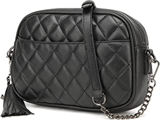 Lola Mae Quilted Crossbody Bag, Medium Lightweight Shoulder Purse Top Zipper Tassel Accent
