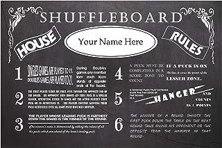 ZieglerWorld Personalized Vintage Chalkboard Looking Table Shuffleboard Rules Poster - Framed