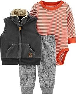 Baby 3-Piece Pants and Vest Set Size 12 Months Grey/Orange