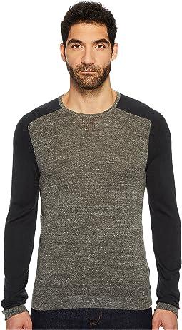 John Varvatos Star U.S.A. - Long Sleeve Color Block Crewneck Sweater