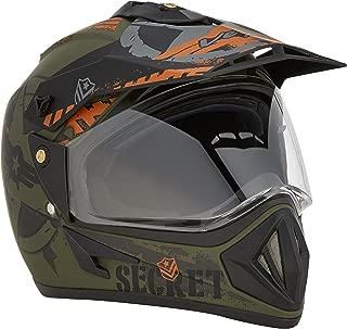 Vega Off Road Secret Full Face Helmet (Dull Black and Green, L)