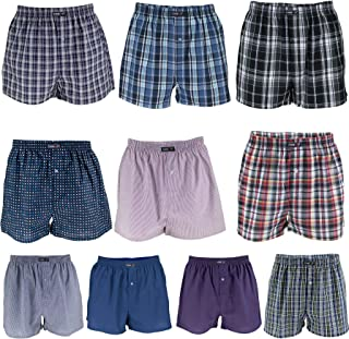 REMIXX Men's American Boxer Shorts Checked Cotton Woven Woven Boxer Shorts Plus Sizes, Pack of 10