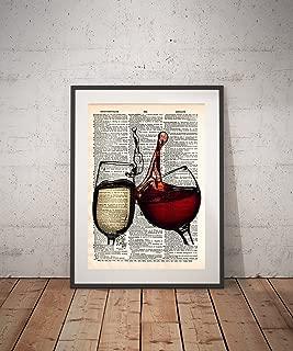 Red wine art, White wine art, wine glass art print, cheers, wine lover gift