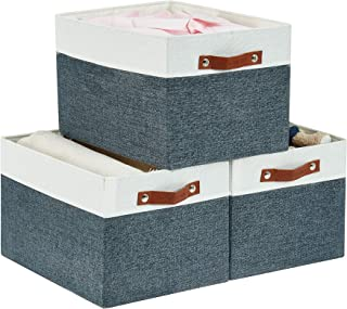 DECOMOMO Foldable Storage Bin | MDF Sturdy Cationic Fabric Collapsable Basket Cube with Handles | Perfect for Organizing S...