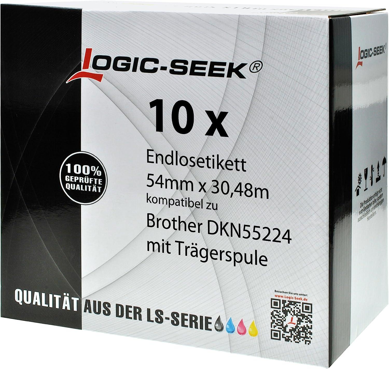 Logic-Seek 10x Endlos-Papierrolle kompatibel für Brother DKN55224-54mm x x x 30,48m P-Touch QL-1050 1060N 500 550 560 570 580 700 500 A BS BW 560 VP YX 580N 650TD 710W 720NW B00KRHRINI   Verschiedene Arten und Stile  0924c6