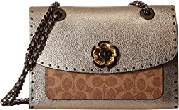Coated Canvas Signature Border Rivets Metallic and Exotics Parker Shoulder Bag