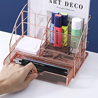 Rose Gold Desk Organizer Cute Desk Storage Metal Desk Accessories Mesh Desktop Organizer Stationary Desk Caddy for School ...