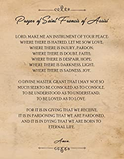 Original Prayer of Saint Francis of Assisi Quote Poster Prints, Set of 1 (11x14) Unframed Photo, Great Wall Art Decor Gifts Under 15 for Home, Office, Man Cave, Student, Teacher, School & Church Fan