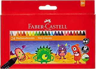 Faber-CastellWax Crayons 24 Color Round 90Mm, 120053, Multi Color