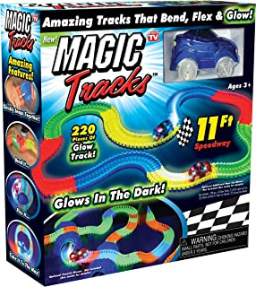 Magic Tracks 165 Pieces The Amazing Children The Racetrack That Bend Flex & Glow in Dark 11Ft. Car Toy