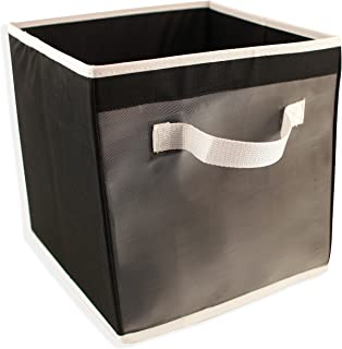 EASYVIEW Storage Cube with Handle 100% Woven Oxford Nylon Bin with Mesh See Thru Side 10.5 x 10.5 x 10 Inches, Foldable, White, Brown and Grey (Black/White Trim)