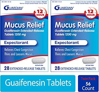 Guardian Mucus Relief 12 Hour Extended Release Guaifenesin, 1200mg Maximum Strength, 56 Count, Chest Conges...