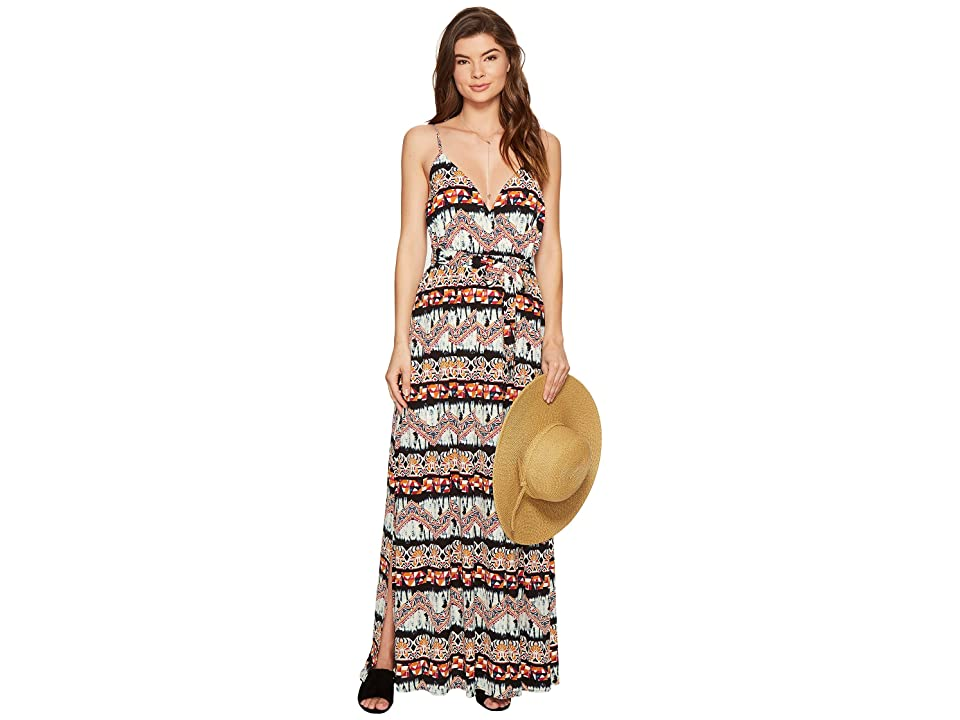 Jack by BB Dakota Agnes Artisan Wave Printed Poly Crepe Maxi Dress (Bright White) Women