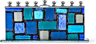 Ner Mitzvah Glass Candle Menorah - Fits All Standard Chanukah Candles - Handcrafted Blue and White Western Wall/Kotel Design Menora