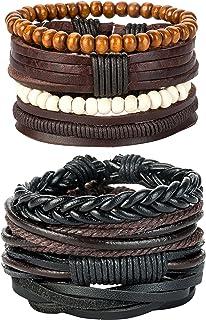 REVOLIA 8-12Pcs Leather Bracelets for Men Women Wooden Beaded Bracelets Braided Cuff