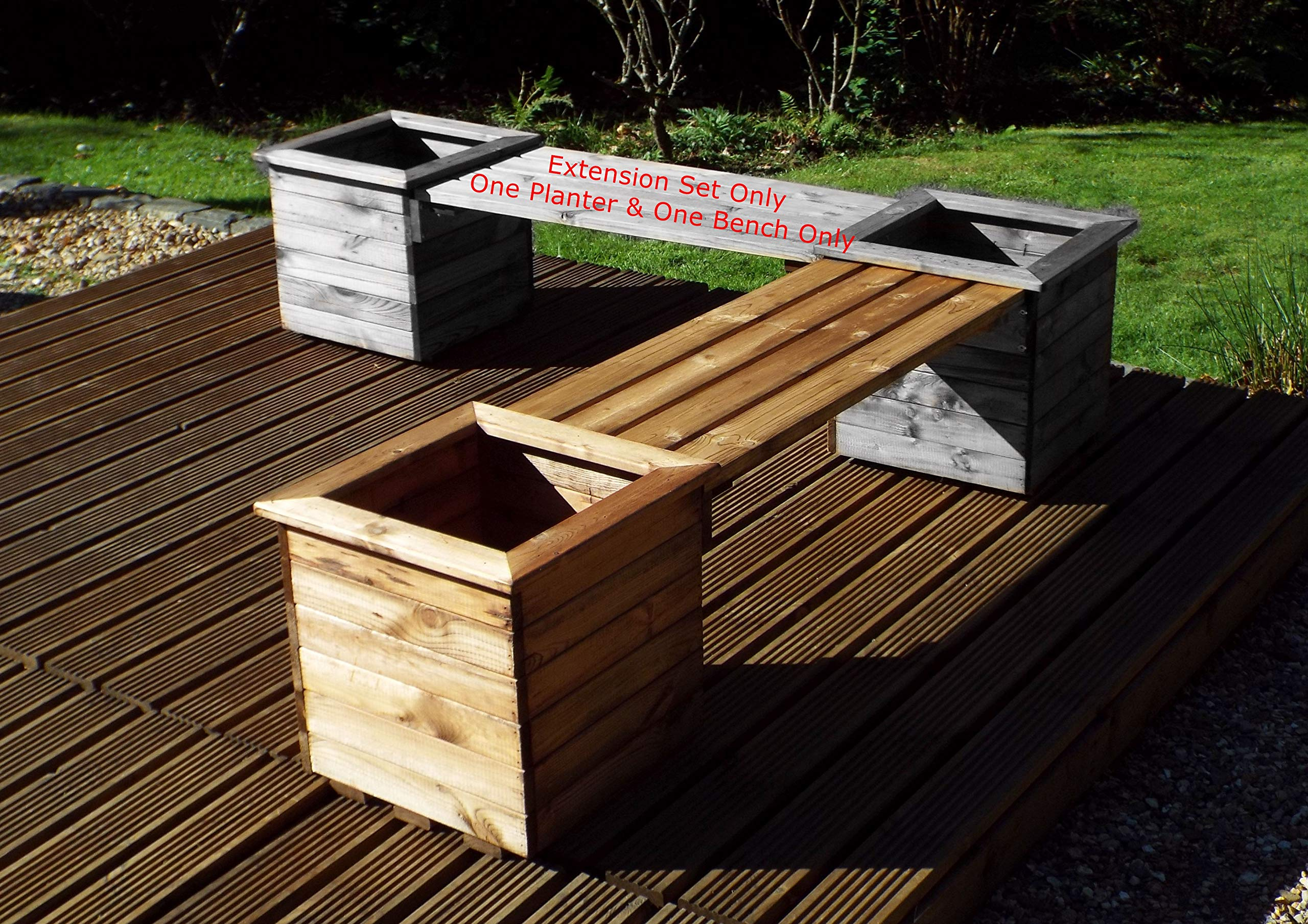 Charles Taylor Trading Hand Made Square Planter Bench Extension Chunky  Rustic Wooden Garden Furniture