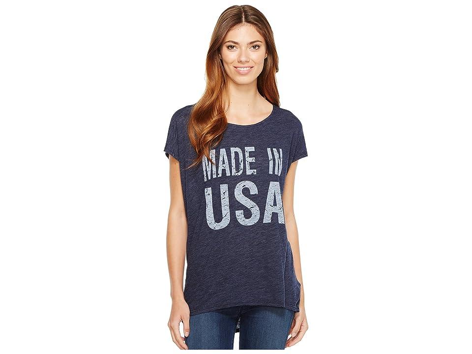 Allen Allen Made in USA Cap Sleeve Tee (Lapis) Women's T Shirt
