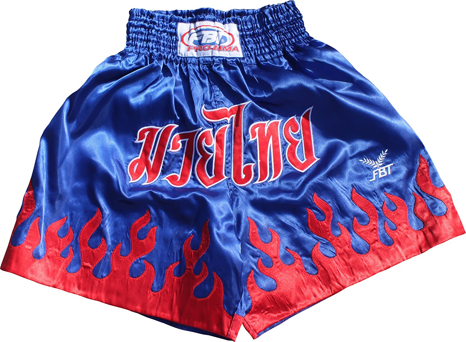 (Large, Red blueee) - Fbt Quality Satin Kick Boxing Shorts with Muay Thai Thailand Script and Flames