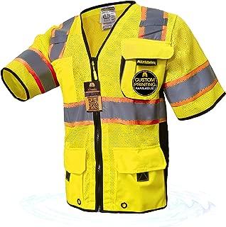 KwikSafety (Charlotte, NC) EXECUTIVE Class 3 ANSI Safety Vest OSHA High Visibility Reflective Stripes Heavy Duty Mesh Pockets and Zipper Hi-Vis Construction Work Hi-Viz Surveyor Men Yellow XX-Large