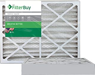 FilterBuy 20x24x4 MERV 8 Pleated AC Furnace Air Filter, (Pack of 2 Filters), 20x24x4 – Silver
