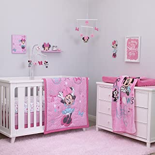 Disney Baby Minnie Mouse All About Bows 4 Piece Nursery Crib Bedding Set, Pink, Aqua