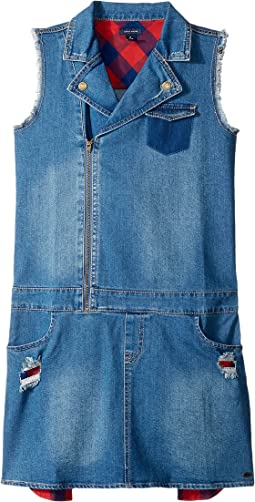 Denim Moto Dress (Big Kids)