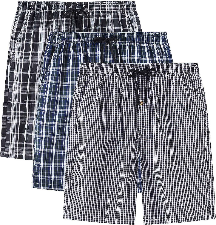 JINSHI Kids 3 Pack Cotton Plaid Pajama Shorts Drawstring Elastic Waist with Pockets for Boys or Girls 3T26B-2-L Black