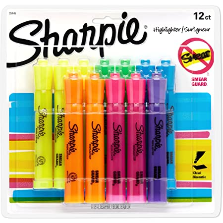 6 Colored Highlighters - 1 25076 Sharpie Accent Tank-Style Highlighters