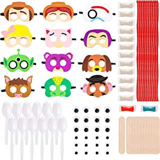 MALLMALL6 24 Sets Toy 4th Masks Fork DIY Figure Toys Birthday Party Favors Pack Toy 4 Theme Party Supplies Dress Up Costumes Art Crafts Woody Buzz Lightyear Bo Peep Jessie Party Games for Kids