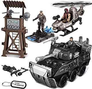 JOYIN 9 Pcs Military Toy Play Set with Realistic Watchtower, Military Tank Toy, Mini Helicopter, Fancy Sci-fi Jet Board, Army Men Toy Soldiers Action Figures and Other Equipment Accessories