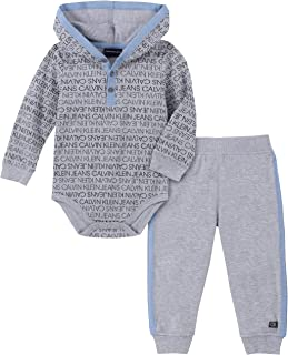Calvin Klein Baby Boys 2 Pieces Bodysuit Pants Set
