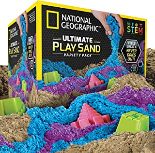 NATIONAL GEOGRAPHIC Play Sand Combo Pack - 2 LBS Each of Blue, Purple and Natural Sand with Castle Molds - A Kinetic Senso...