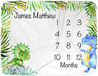 "Dinosaur Month Blanket Boy, Baby Monthly Milestone Blankets, Infant Dino Nursery Tyrannosaurus Rex, Triceratops Baby Shower Gifts, Nap Mat Girl, Photography Photo Props (Minky 40x30"")"