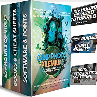 GIMP Photo Editor 2019 Professional Guide Book & Tutorial Videos - Learn the Photoshop Software 2.10 & 2.8 with Premium Programs for Mac & Windows on USB Disc