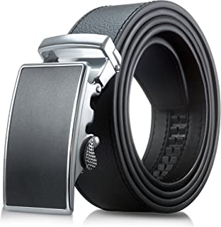 男式真皮皮带 - 男式棘轮黑色礼服皮带,带自动扣。