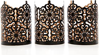 Hosley Set of 3 Black Finish Metal Candle Holder 4 Inch High Lattice Cut Lantern Ideal Gift for Votive Gardens LED Tealights Weddings Spa Reiki O3