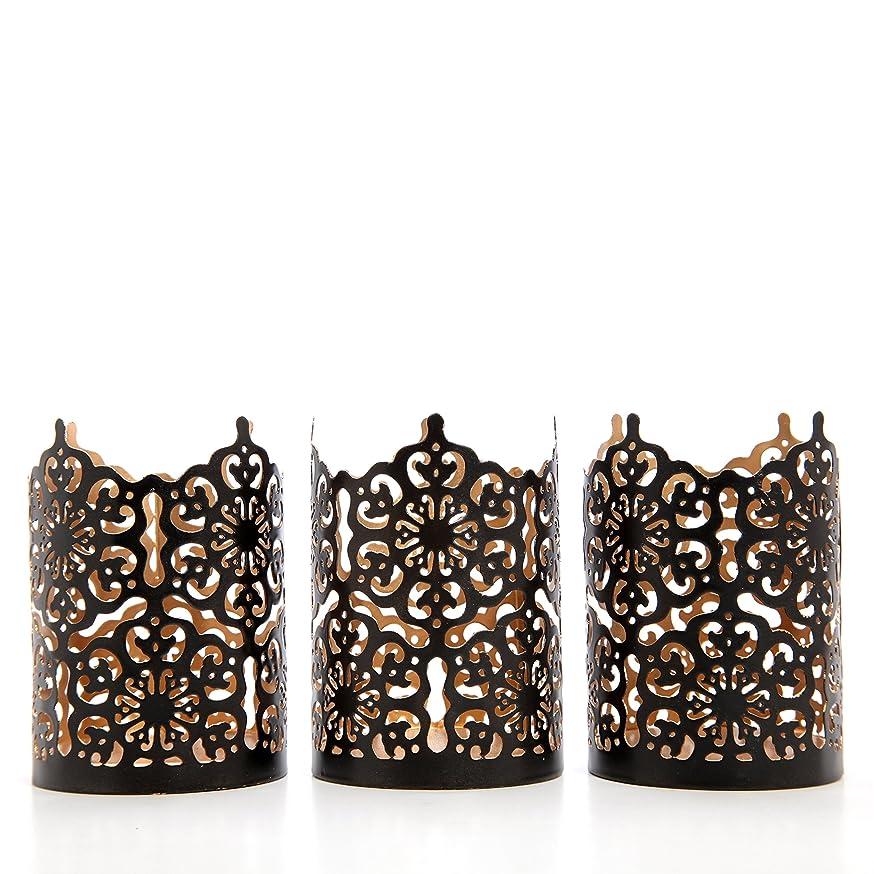 Hosley Set of 3 Black Finish Metal Candle Holder 4
