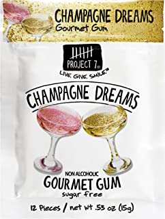 Project 7 Sugar Free Gum, Champagne Dreams, 12 Pouches, 144 Pieces Total